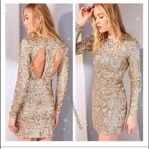 Urban Outfitters Metallic Gold Sequin Mini Dress